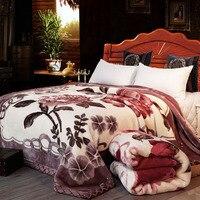 Супер мягкое рашелевое одеяло животное коровья кожа цветочный принт двойной слой королева Королевский двухспальный размер кровать толсты