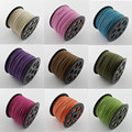 100yard(92m)/roll 3mmx1mm lace leather Flat Faux Suede Cords Korean thread string Rope diy finding wire mixed black white brown