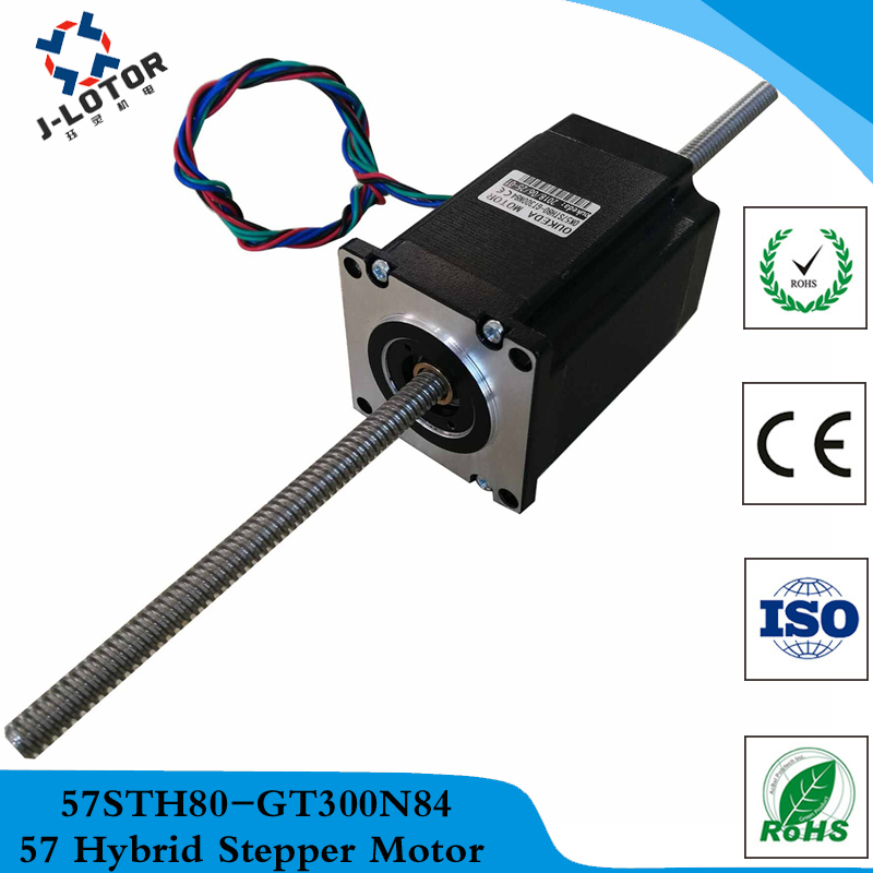 57*57*80mm Through type Screw Motor Nema23 57BYG80 4.2A 2N.m 57 perforation Linear Stepping Motor with Tr8*4(P2)*300mm shaft