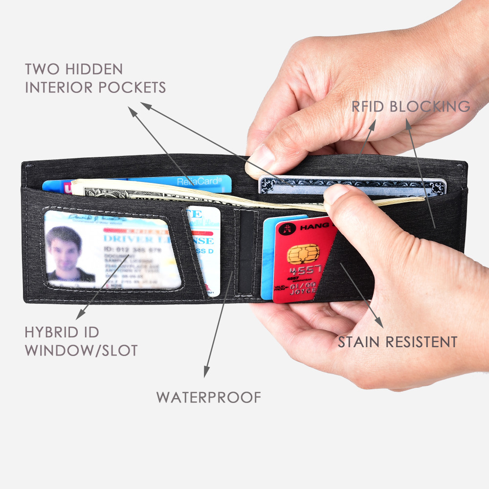 b3a6fcfe0b8b US $16.31 49% OFF|Men Slim Wallet RFID Blocking Bifold Trifold Genuine  Leather Wallet Multi Card Extra Capacity Waterproof Purse-in Wallets from  ...