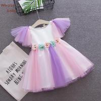 ドレスのための赤ちゃん女の子誕生日ドレスアップリケフラワーレインボーネット糸フライスリーブボウサンドレス2018熱い夏子供服1-3y