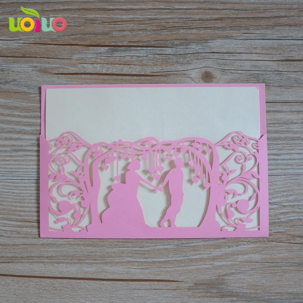 Wedding Wholesale Love Theme Laser Cut Wedding Greeting Cards