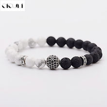 Oiquei 2021 encantos branco preto lava natural pedra difusor pulseiras para homens micro pave cz bolas de cobre frisado pulseira