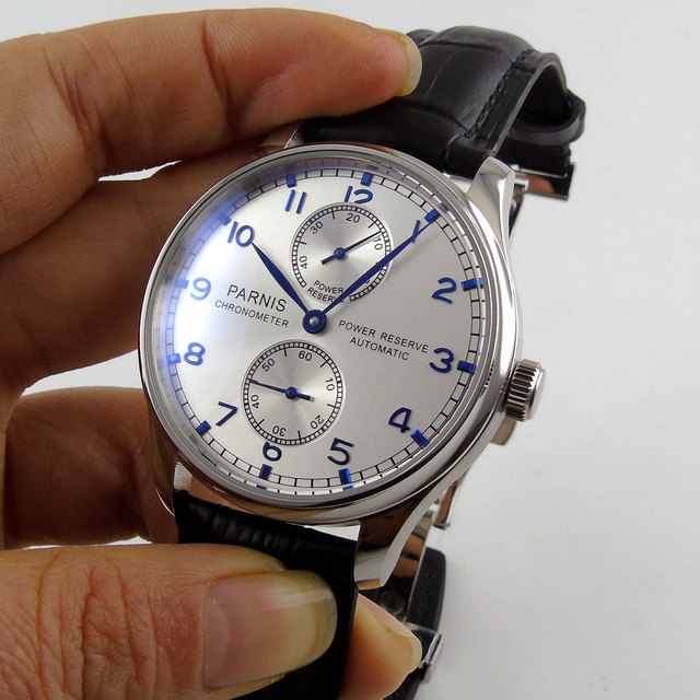 43mm parnis silver White dial Leather Deployment Bucket Blue Marks Power Reserve ST 2542 Automatic Mechanical mens Watch