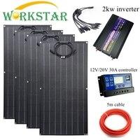 Workstar ETFE Pannello Solare Flessibile 100 w 4 pcs ETFE Pannello Solare 12 V caricatore Solare 400 W sistema solare con 2kw inverter Celle solari Elettronica di consumo -