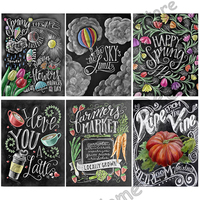 Black Menus Mosaic 5D Diy Diamond Embroidery Painting Resin Drill Embroidery 3D Cross Stitch Kits Wall