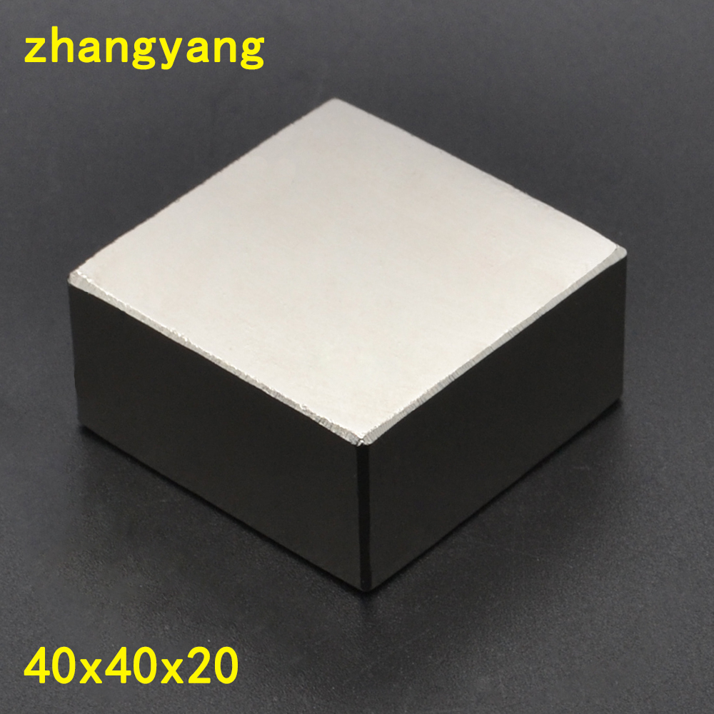 Free Shipping 1PCS block 40x40x20mm Super Powerful Strong Rare Earth Block NdFeB Magnet Neodymium Magnets 40x40x20 40*40*20
