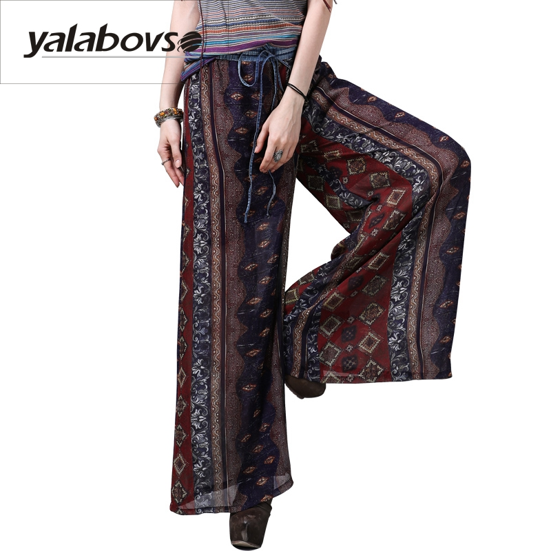 Yalabovso 2018 Newest Chiffon Wide leg Long pants For Women Summer Style Elastic Waist Printing pants for woman A50 x2206z20