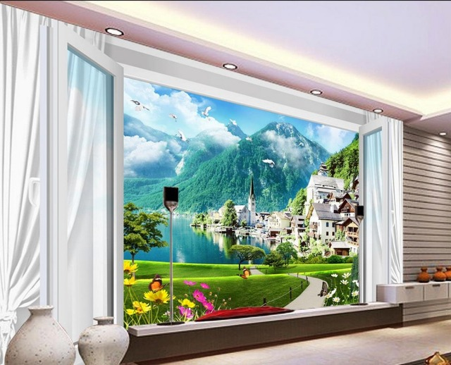 Custom 3d Mural Wallpapers Hd Landscape Mountains Lake: Custom 3d Wallpaper Murals Window Scenery 3d Room