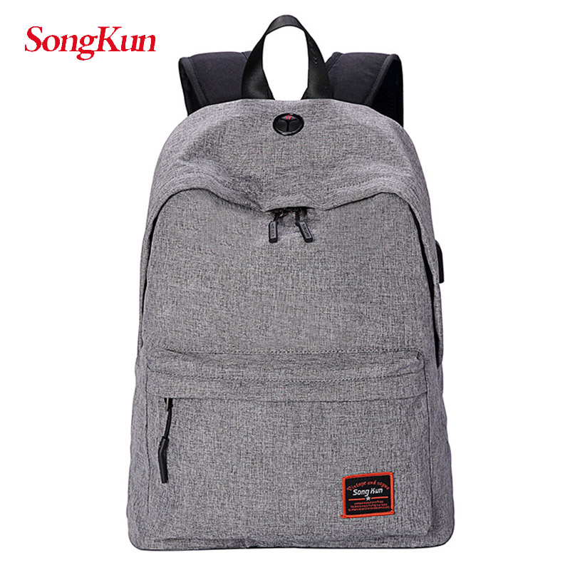 SongKun USB Charge Laptop Backpack Men Large Capacity Travel Computer Bag Student School Bags For Girls Canvas Back Pack Women
