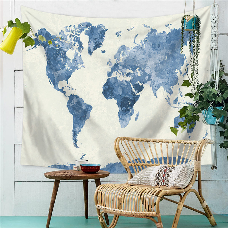 Charmhome watercolor world map printed tapestry wall hanging hippie polyester tropical world map pattern wall cloth hanging tapestry wedding party gift bedspread beach cover towel gumiabroncs Images