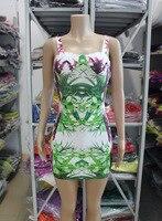 2018 new fashion backless bamboo leaf print pattern sleeveless tank mini sexy prom cocktail club wear bandage dress HL276