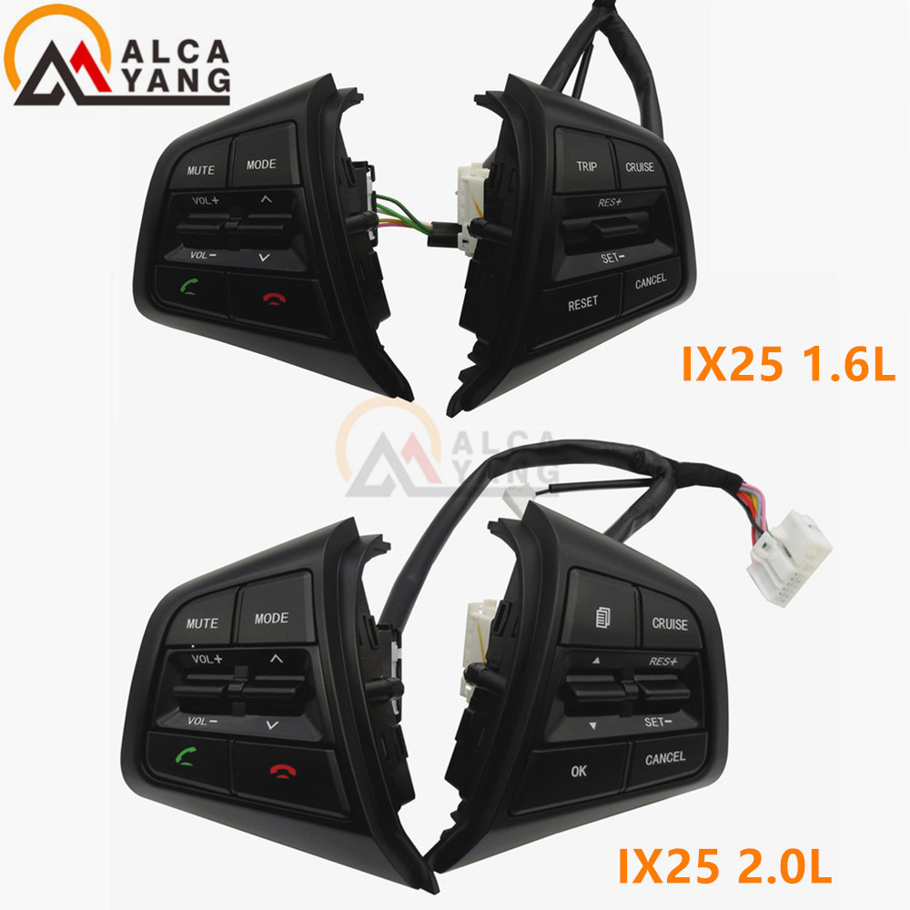 Malcayang Steering Wheel For Hyundai ix25 creta 2.0 1.6 Buttons Bluetooth Phone Cruise Control Remote Control button for hyundai ix25 2 0l steering wheel control supervision panel button without clock spring creta english pattern version heating