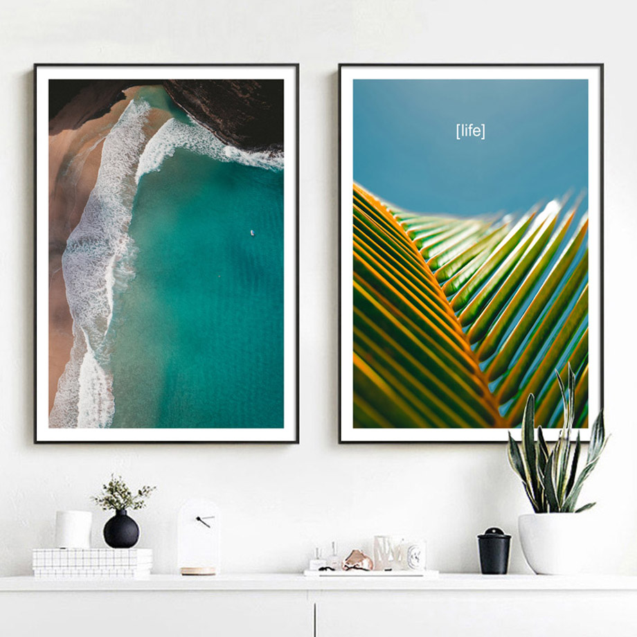 7-Space Summer Beach Print Poster Modern Landscape Wall Art Canvas Painting Photography Style Picture For Living Room Decor