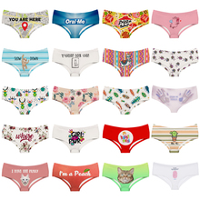 LEIMOLIS Cartoon Letter Map funny print sexy hot panties female kawaii Lovely underwear push up briefs women lingerie thongs