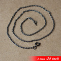 "24"" Metal Jewelry Links With Round Clasps Connectors Black Sterling 2mm Necklace Cable Chains For Pendants Accessories In Bulk"