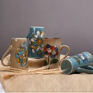 Image 5 - 손으로 그린 세라믹 컵 큰 머그잔 복고풍 커피 식기 개성 커플 창의력의 전체