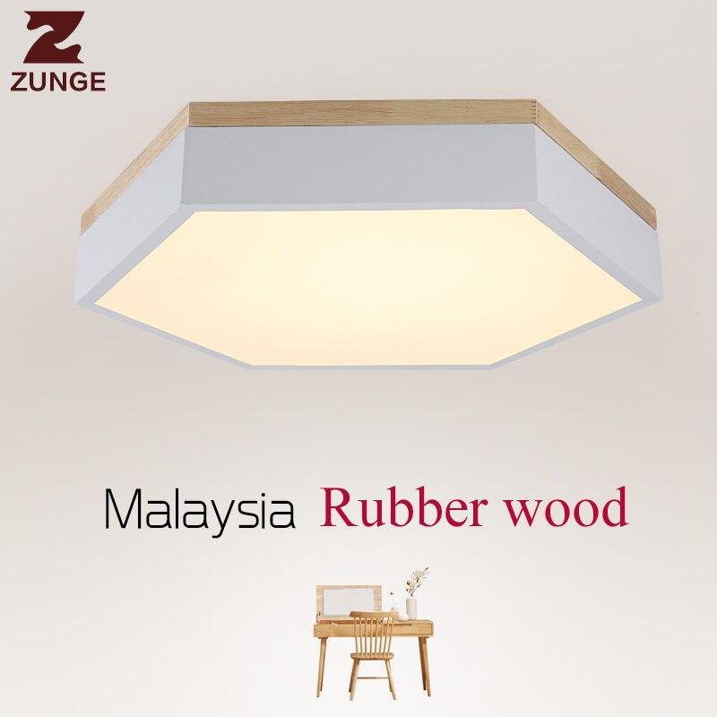 ZUNGE led ceiling lamp bedroom lamp creative wood P537 simple modern wood living room lighting iron plus wood lamps