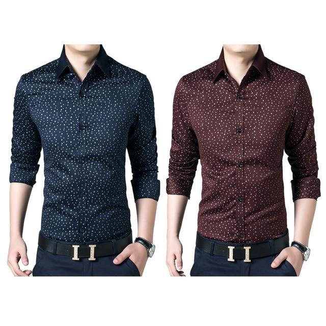 New Men Shirts Luxury Casual Stylish Spring Autumn Cotton Dress Shirts Slim Fit Social Shirts Fashion Mens Clothes