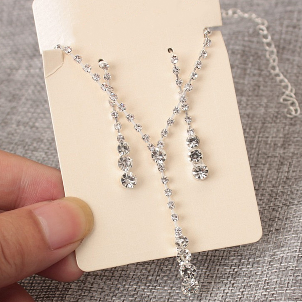 2pcs Bride Necklace Earrings Western Style Simple Design Bride Decoration Rhinestone For Party