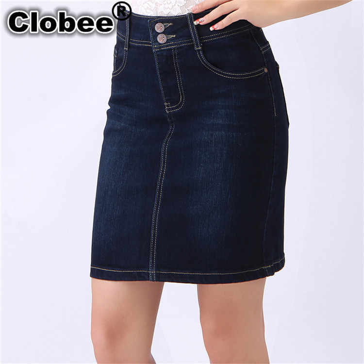 ed032747dcc Knee Length Denim Skirts Pencill Big Woman Pencil Jeans Skirt Female Plus  Size 3XL 4XL 5XL