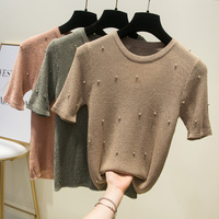 gold and silver silk ice silk bright wire flash wire nail bead short sleeve T shirt thin render sweater coat female