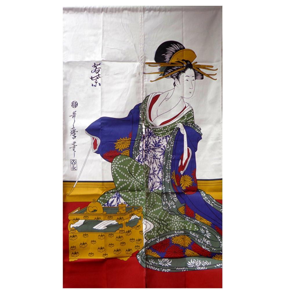 Nice Curtains Japanese ukiyoe noren Geisha &bamboo printed door curtain half curtain / fitting room / bathroom curtain serok ikan