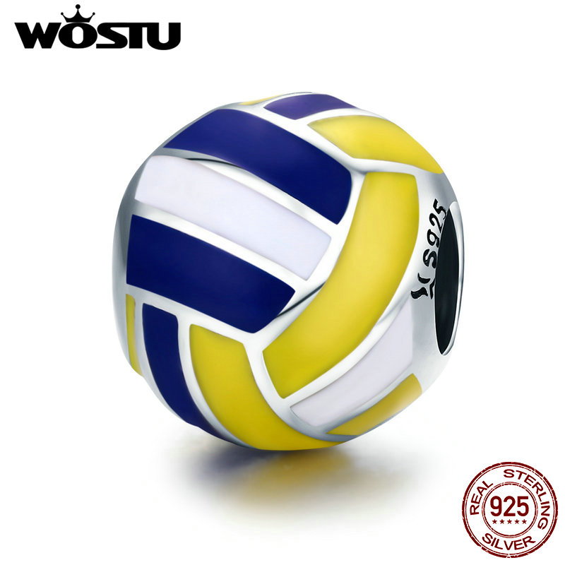 WOSTU 100% 925 Sterling Silver Volleyball Love Sport Ball Charm Beads fit Original Charm Bracelet DIY Jewelry Making CQC448 strollgirl car keys 100% sterling silver charm beads fit pandora charms silver 925 original bracelet pendant diy jewelry making