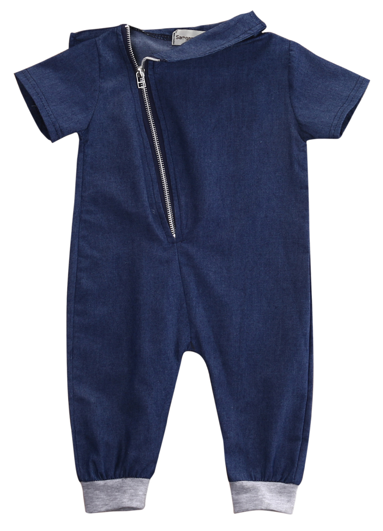 Denim Newborn Toddler Baby Boy denim   Romper   Outfits Clothes zipper turn-down collar