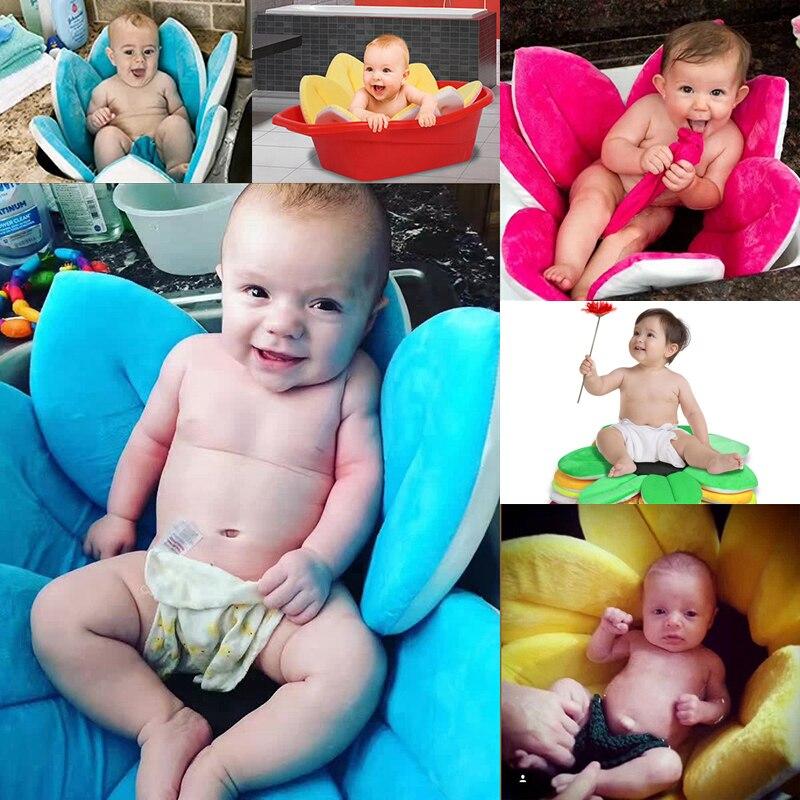 New Born 8 Colors Petals Bath Tub Foldable Baby Supplies Flowers Shape Bath Mat Blanket Support Infant Shower Baby Care