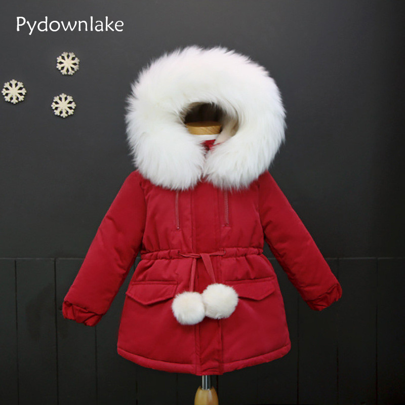 Pydownlake winter baby girl coat fashion casual girls padded jacket fleece thick hooded outerwear girls wadded coat parka jacket winter jacket women high quality single breasted cotton padded coat parkas female wadded medium long parka girls outerwear
