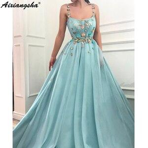Image 4 - Spaghetti Straps Beaded Flowers Muslim Evening Dresses 2019 A line Tulle Islamic Dubai Saudi Arabic Long Evening Gown Prom