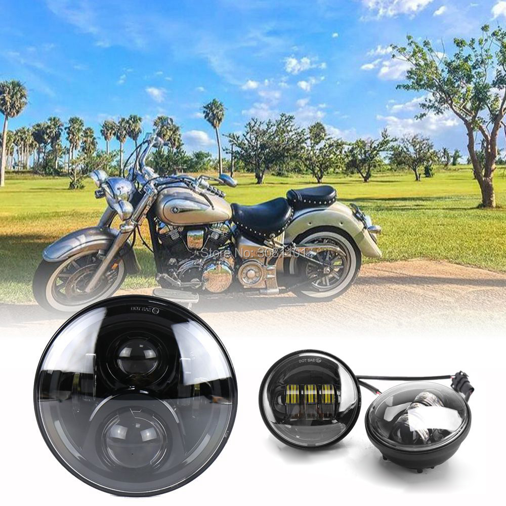 60WLED Headlight Hi/low beam Auto 7for Harley and 4.5Fog lamp Projector for 1956-1959 Harley-Davidson Hummer(except year 1957)