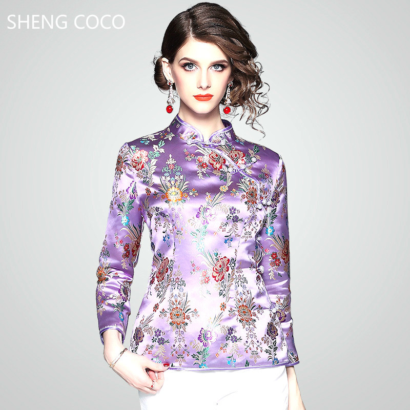 SHENG COCO Traditional Chinese Clothing For Women Silm Add Cotton Jacket Tops Traditional Chinese Blouse Long Sleeve Large Size