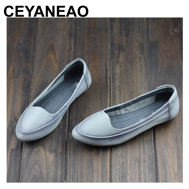 96fa3f5b64 CEYANEAO Women s Shoes Flat Pointed Toe Slip on Ballet Flats 100% Genuine  Leather Ladies Flat Shoes Female Footwear (8065-1)