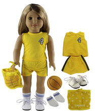 New 6 PCS Doll Dress+1 Ball+1 Pairs Shoes+1 Bag+1 Pairs Socks for 18 Inch American Bitty Baby Doll X102