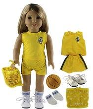 Nuovo 6 PCS Doll Dress + 1 Sfera + 1 Paia di Scarpe + 1 Sacchetto + 1 Pairs Calzini e Calzettoni per 18 pollici American Bitty Baby Doll X102