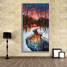 top artist High Quality 100% Handpainted Knife landscape Modern Oil Painting On Canvas  Wall Decor Tree Road Palette art Picture