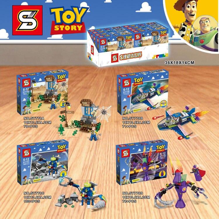 New 4PCS Toy story woody Fighter buzz lightyear Cafe alien Zurg Mech Figures Legoingly building block bricks Kids toys 流水 盆 養魚