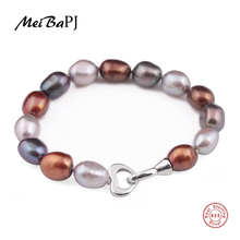 MeiBaPJ 925 Sterling Silver 10 11mm Fashion Baroque FreshwaterPearl Bracelet for Women Lover Heart Accessaries