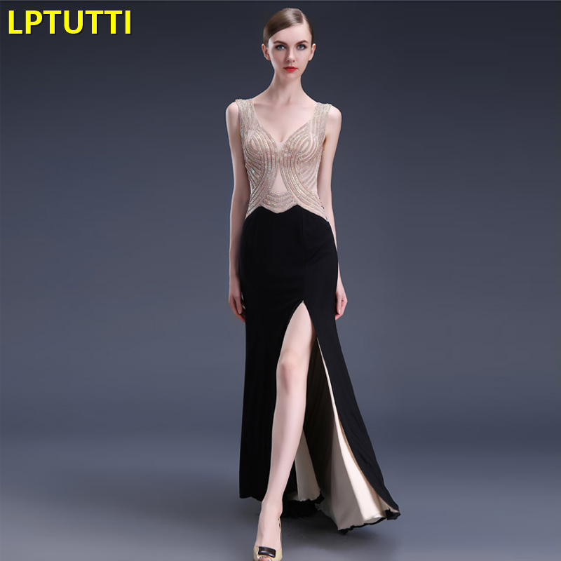 LPTUTTI Crystal Gratuating New For Women Elegant Date Ceremony Party Prom Gown Formal Gala Luxury Long   Evening     Dresses