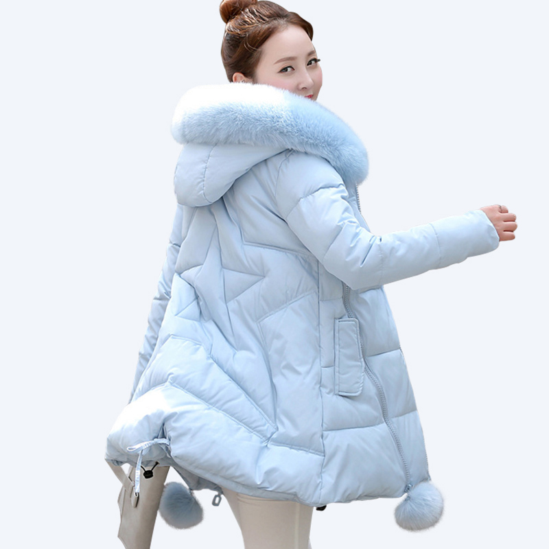 Thick Warm Long Winter Jacket Women Parkas 2017 Fur Collar Hooded Cotton Padded Winter Coat Female casaco feminino invero women winter cotton padded jacket warm slim parkas long thick coat with fur ball hooded outercoat female overknee hoodies parkas