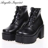 اليابانية المتناثرة الشرير تأثيري سميكة كعب منصة أحذية بيضاء أحذية جلدية الدانتيل متابعة ملكة