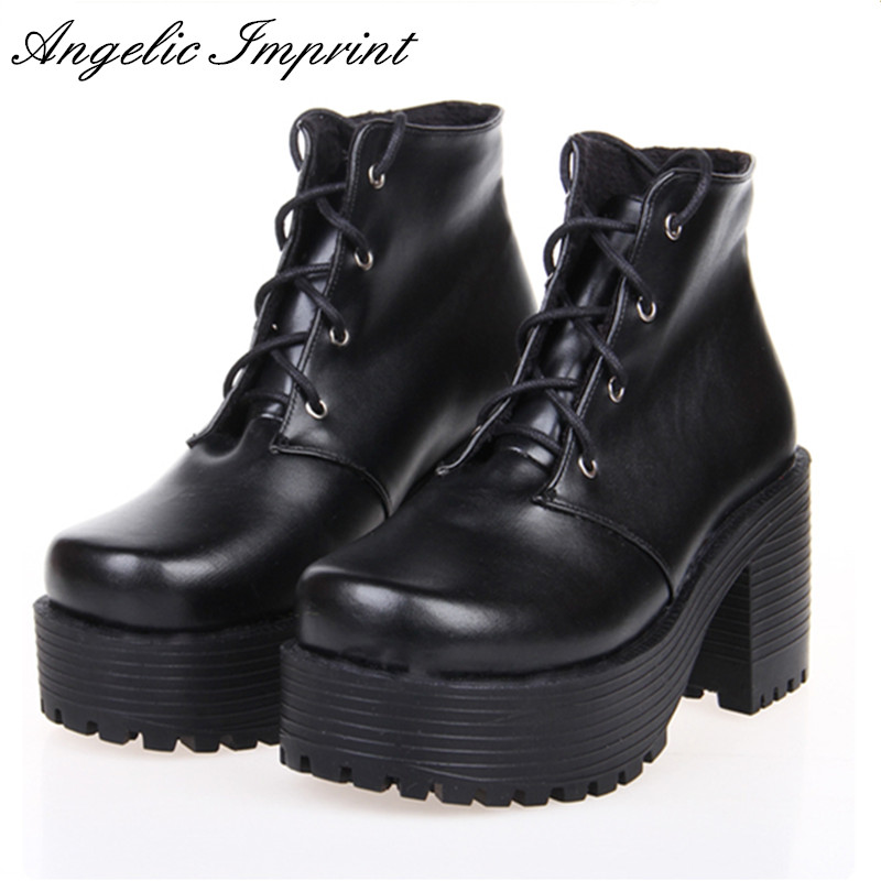 Japanese Harajuku Punk Cosplay Thick Heel Platform Shoes White Leather Lace-up Queen Shoes цены онлайн
