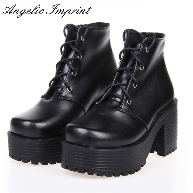 0c6cdc310a1 Japanese Harajuku Punk Cosplay Thick Heel Platform Shoes White Leather Lace-up  Queen Shoes