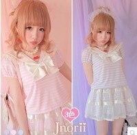 Prinzessin sweet lolita hemd BOBON21 exklusive originaldesign Sommer glänzende silber Nifty und navy kragen streifen t-shirt T1050