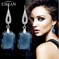 Chran New 2 Colors Genuine Crystal 925 Sterling Silver Drop Silver Earrings Made With SWA Elements Jewelry Gifts Free Shiping