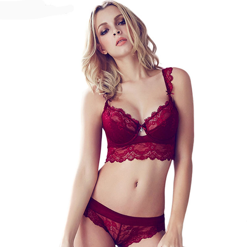 Sexy Mousse Women Sexy Bra Set Ultra-thin Red Black Lace Bras Underwear Push up Bra and Panties Set Cup A B C D