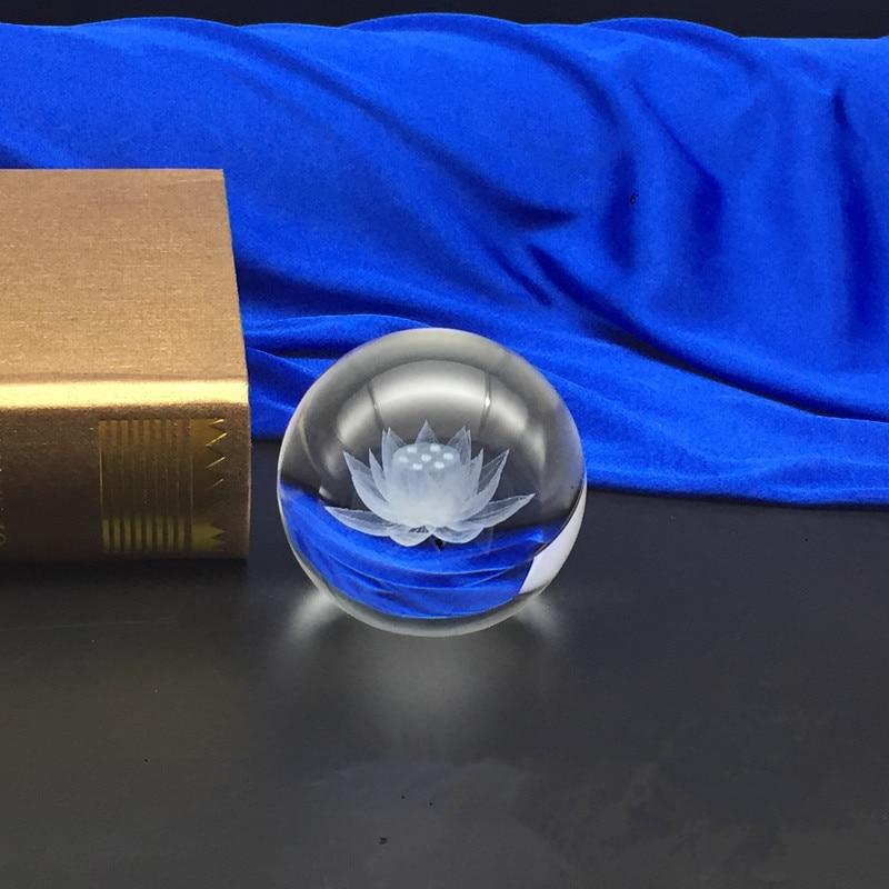 60 mm / 80 mm 3D Laser Engraved Lotus Flower Crystal Ball