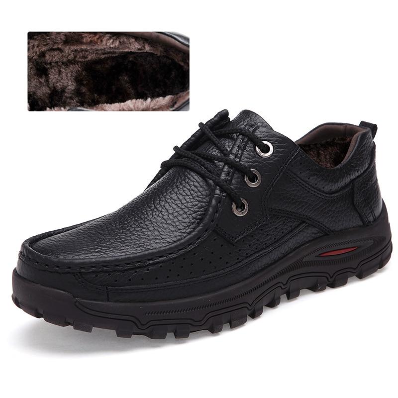 Chaud 48 Neige Bottes Mode Cuir Noir Cheville Véritable Hommes Confortable Grande Taille marron De Bottes Qualité Hiver Chaussures Boots752 45wqZ